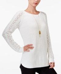 Maison Jules Pointelle Sweater Only At Macy's Egret