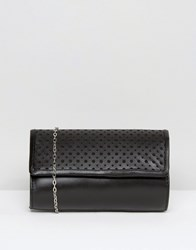 Lotus Cellini Perforated Detail Leather Clutch Bag Black Leather
