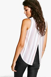 Boohoo Pastel Striped Split Back Crepe Top Multi