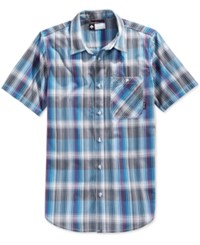 Lrg Men's Sundowner Plaid Poplin Short Sleeve Shirt Blue