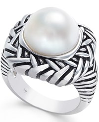 Macy's Cultured Freshwater Pearl Etched Ring 12Mm In Sterling Silver