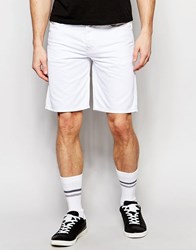 Diesel Denim Shorts Bustshort Straight Fit In White Dark Rinse Blue