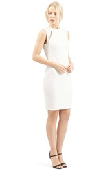 Topshop Ribbed Cutout Body Con Dress White