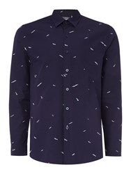 Peter Werth Gallery Seagull Print Cotton Shirt Navy
