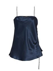 Ellery Leni Ruched Side Silk Satin Cami Top Navy