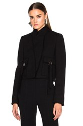 Proenza Schouler Wool Crepe Jacket With Stand Collar In Black