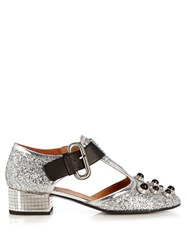 Toga Mirrored Heel Glitter Pumps Silver