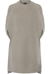 Mcq By Alexander Mcqueen Ribbed Wool Mini Dress Stone
