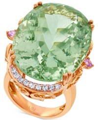 Lali Jewels Green Amethyst Pink Sapphire 42 1 2 Ct. T.W. And Diamond 1 4 Ct. T.W. Ring In 18K Rose Gold