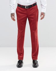 Noose And Monkey Super Skinny Suit Trousers With Stretch Raspberry Red