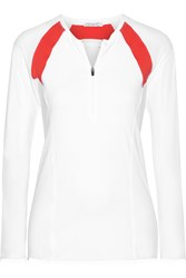 L'etoile Sport Paneled Stretch Jersey Top White