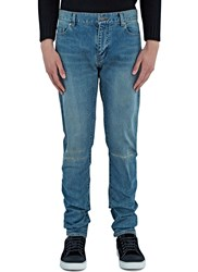 Saint Laurent Destroyed Knee Slim Leg Jeans Blue