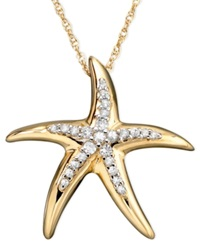 Macy's Diamond Starfish Pendant Necklace In 14K Gold 1 10 Ct. T.W.