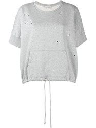 Faith Connexion Drawstring Hem Distressed Sweatshirt Grey