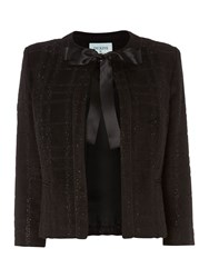 Dickins And Jones Lurex Check Bow Front Jacket Black