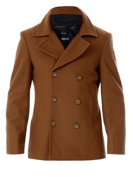 Red Soul Straight Buttoned Coat Cream