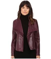 Bb Dakota Newell Washer Leather Jacket Boysenberry Women's Coat Pink