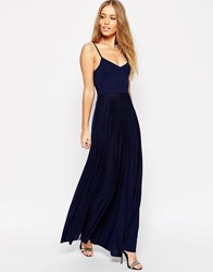 Asos Cami Maxi Dress With Pleated Skirt Navy
