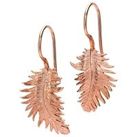 Dower And Hall 18Ct Gold Vermeil Small Feather Drop Earrings Rose Gold