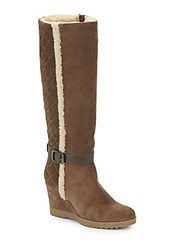 Aquatalia By Marvin K Christine Leather Trimmed Suede Tall Boots Taupe