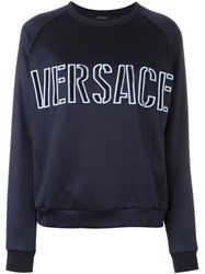 Versace Front Embroidered Logo Sweatshirt Blue