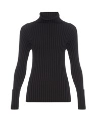 Valentino Roll Neck Long Sleeved Ribbed Sweater Black