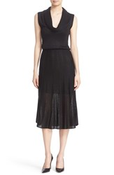 Alice Olivia Women's 'Jacey' Cowl Neck Blouson Knit Midi Dress Black