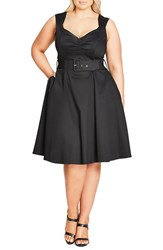 City Chic Plus Size Women's Pin Up Belted Fit And Flare Dress