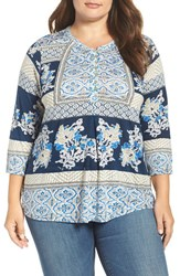 Lucky Brand Plus Size Women's Mixed Print Knit Top