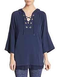 Nanette Lepore Lace Up Bell Sleeve Hoodie Indigo