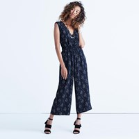 Madewell Wrap Front Culotte Jumpsuit In Vine Scatter Leaf Almost Black