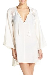 Robin Piccone Women's 'Pippa' Crochet Trim Cover Up Tunic Cream