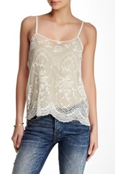 En Creme Crochet Knit And Mesh Sheer Tank White