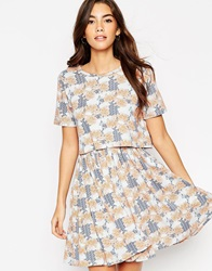 Asos T Shirt Dress With Overlay In Floral Print
