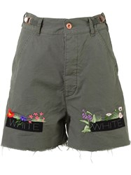 Off White Embroidered Shorts Green