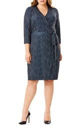 Mynt Plus Size Women's 1792 Wrap Jersey Dress Ink Dot Navy