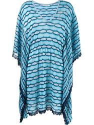 Cecilia Prado Striped Knit Kaftan Blue