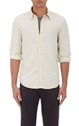 Barneys New York Men's Donegal Effect Cotton Blend Shirt Ivory