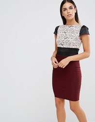 Vesper Cap Sleeve Dress With Lace Top Mulberry Red