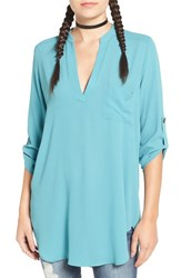 Lush Women's 'Perfect' Roll Tab Sleeve Tunic Teal
