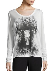 Haute Hippie Long Sleeve Graphic Printed Tee Ivory Black