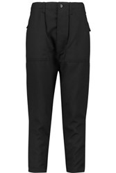 Nlst Cotton Trimmed Wool Twill Tapered Pants Black