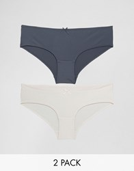 Marie Meili Lisa 2 Pack Brief Charcoal And Pink Multi