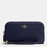 Coach Double Accordion Zip Wallet In Polished Pebble Leather Light Gold Navy