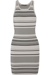 Halston Striped Stretch Knit Mini Dress Gray