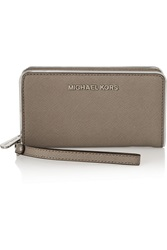 Michael Michael Kors Large Textured Leather Phone Case Light Gray