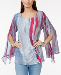 Miraclesuit Printed Chiffon Angel Sleeve Top