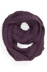 Junior Women's Lulu Cable Knit Infinity Scarf Purple Online Only Plum