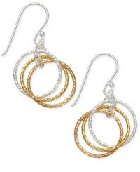 Giani Bernini Tri Tone Interlocking Circle Drop Earrings In Sterling Silver Gold Plated Sterling Silver And Rose Gold Plated Sterling Silver Only At Macy's Tri Tone