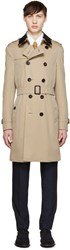 Burberry Tan Detachable Lace Collar Trench Coat